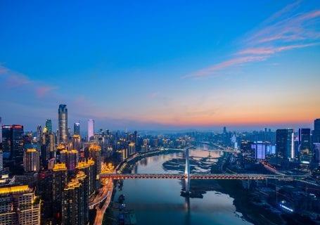 Chongqing skyline at dusk,China